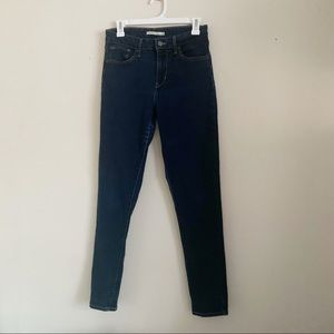 Levis 721 High Rise Waist Skinny Dark Wash Jeans
